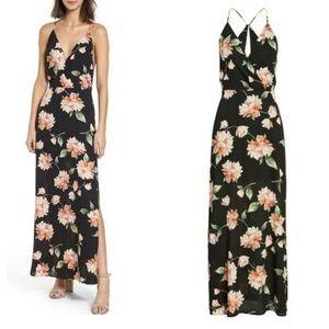 🆕️Lush Black Floral Print Surplice Maxi Dress